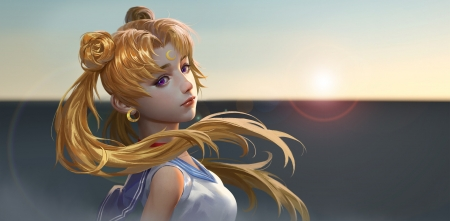 Sailor Moon by Junqi Mu - anime, sailor moon, blonde, manga, realistic, junqi mu, art, luminos, fantasy, girl, face