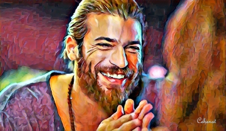 Can Yaman - cehenot, can, portrait, Can Yaman, art, smile, by cehenot, man, erkenci kus, tv series, actor