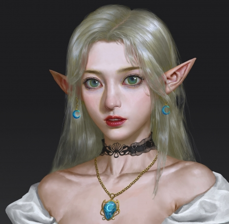Elf girl - jewel, face, superb, gorgeous, art, frumusete, luminos, earrings, elf, fantasy, yang jiawen, girl