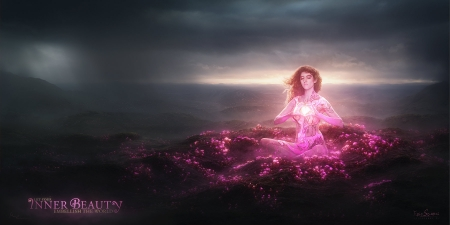 Inner beauty by Marc Zimmermann - fantasy, luminos, marc zimmermann, zen, girl, yoga, pink