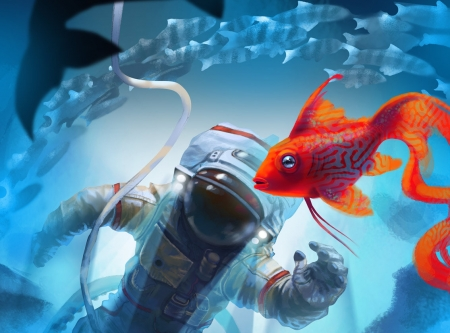 Sea Space by Denis Kornev - view from the top, cosmonaut, astroanut, frumusete, fish, orange, luminos, space, water, vara, fantasy, denis kornev, pesti, summer, cosmos, blue