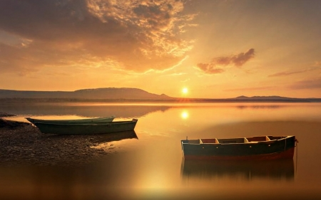 Boats on Lake - art, sunset, boats, lake