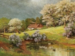 Spring Landscape with Ducks
