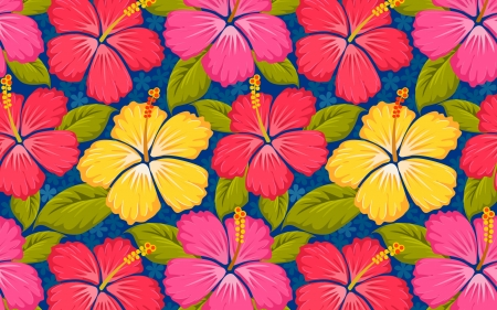 Texture - pink, blue, pattern, red, colorful, exotic, hibiscus, yellow, vara, green, flower, summer, paper