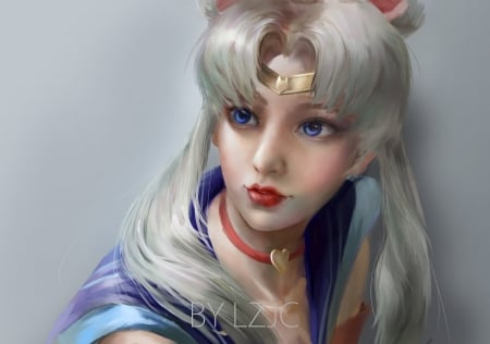 Sailor Moon - lzjc, fantasy, lz jc, anime, manga, sailor moon, face, art, luminos, realistic