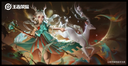 Artemis by Yuanyuan Wang - goddess, white, deer, yuanyuan wang, frumusete, luminos, superb, horns, fantasy, artemis, girl, grogeous