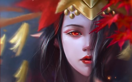 Elf Queen by Mo Yuan - girl, elf, red, mo yuan, fantasy, luminos, queen