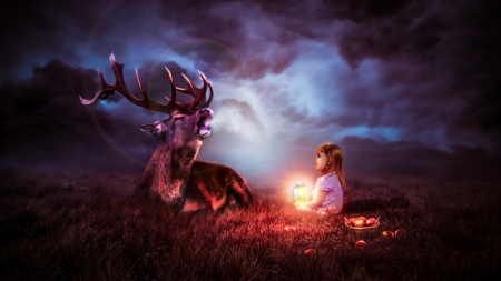 ♥ - lantern, girl, copil, child, deer, horns, red, cerb, luminos, fantasy, night