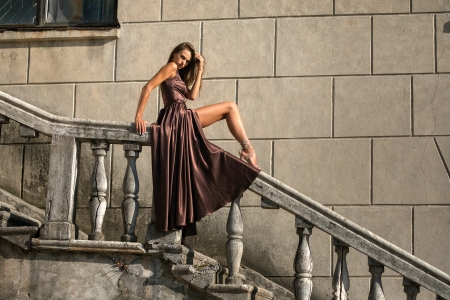 Elegant and Sexy - brunette, staircase, dress, model