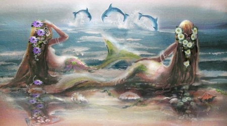 Dolphin Dance - pretty, art, fantasy, sirens, digital, mermaids, pastels