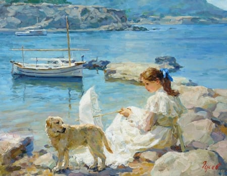 On the shore of the sea by Vladimir Gusev - dog, sea, blue, art, caine, vara, boat, water, girl, summer, painting, vladimir gusev, pictura