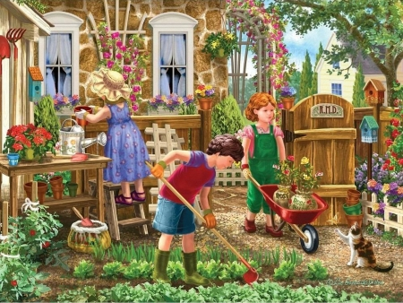 Gardening Fun - cat, house, painting, flowers, children, artwork, working