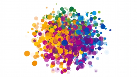 Colorful Dots Explosion - colorful, dots, white background, abstract, explosion
