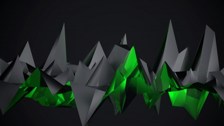 Black Glow Poly - polygonal, abstract, 3d abstract, black background, shapes