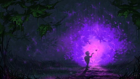♥ - luminos, butterfly, dark, copil, child, night, art, forest, silhouette, boy, fantasy