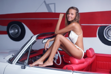 Katya Clover Posing on a Convertible - swimsuit, brunette, model, car