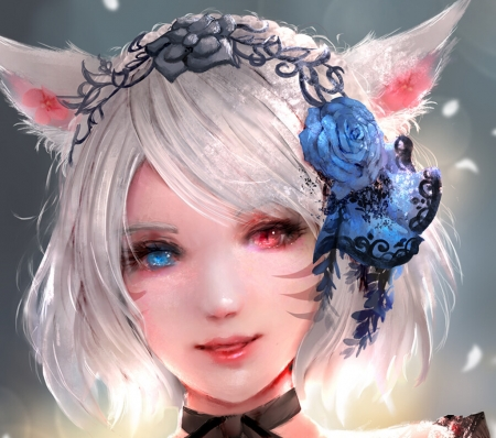 Miqote by Kana Kanade - art, fantasy, luminos, girl, face, kana kanade, miqote, blue