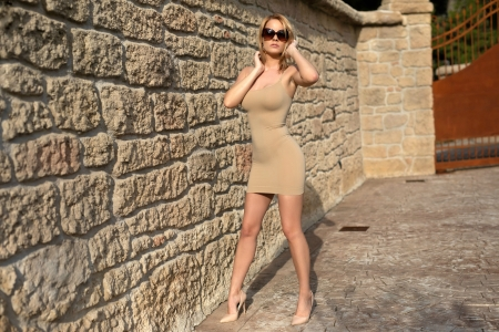 Brooke at the Wall - blonde, high heels, dress, model, sunglasses