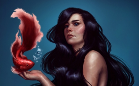 Mermaid by Valentina Tavolilla - art, red, luminos, fish, mermaid, fantasy, vara, girl, valentina tavolilla, pesti, hand, summer, face, siren, blue