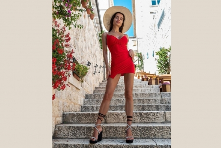 Ekaterina Zueva as a brunette - brunette, sun hat, heels, red mini dress, steps