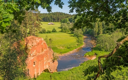 River Amata in Latvia - Latvia, river, trees, rock, landscape