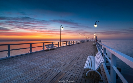 Pier in Gdynia, Poland - sunrise, sea, pier, lanterns, Poland, lights
