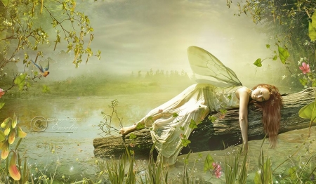 Melancoly Fairy - lively, erthereal, green, Resting, Melancoly, softness, unearthly, Pond water, Dreamy, Fairy