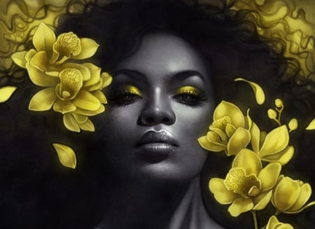 Queen - art, girl, orchid, black, yellow, flower, face, escume, fantasy