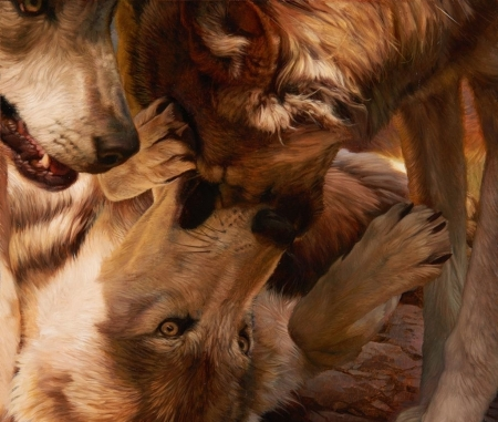 A friendly tustle by Julie Bell - art, julie bell, fantasy, brown, painting, paw, wolf, pictura