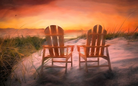 Dreaming by the sea - beach, chairs, sunset, sky, colors
