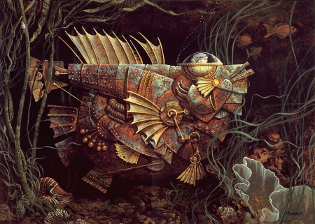 Fish - art, fantasy, fish, brown, painting, james c christensen, pictura, surreal