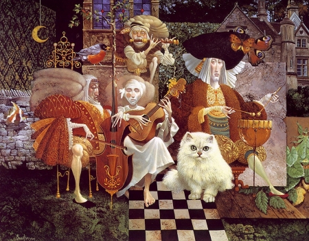 Musical Good-Night Story - people, art, painting, james c christensen, surreal, pictura, cat