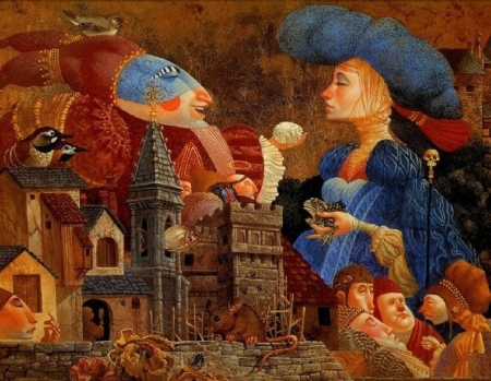 :) - painting, james c christensen, surreal, blue, couple, art, orange, hat, girl, mouse, pictura