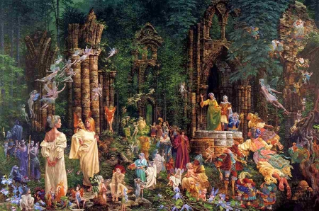 Court of faeries - art, forest, fantasy, painting, james c christensen, pictura, surreal, fairy