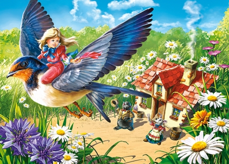 Thumbelina - girl, flower, thumbelina, swallow, fairy, view from the top, house, wings, fantasy, bird, pasari