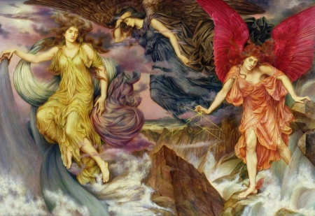 Storm Spirits by Evelyn de Morgan - brown, evelyn de morgan, angel, yellow, painting, pink, art, luminos, fantasy, girl, pictura