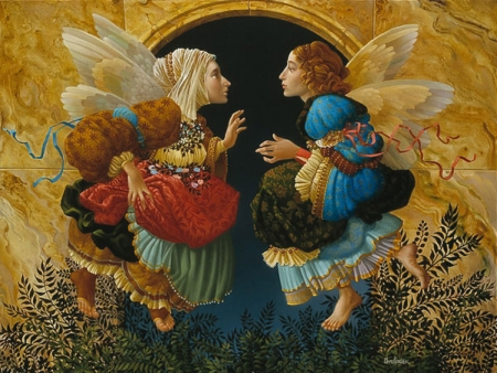 What angels speak about - fantasy, girlo, wings, angel, james c christensen, surreal, couple, art, painting, pictura