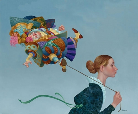 Poofy guy on a short leash - art, balloon, girl, painting, james c christensen, pictura, surreal, blue, funny