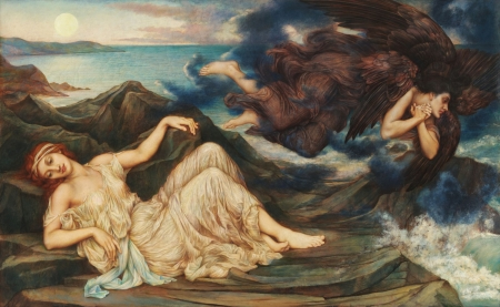 Port after Stormy Seas by Evelyn de Morgan - art, fantasy, wings, evelyn de morgan, girl, angel, painting, pictura