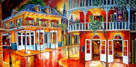 Divine New Orleans - rain, artwork, street, houses, painting
