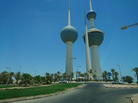 Kuwait City - Kuwait, city, towers, street