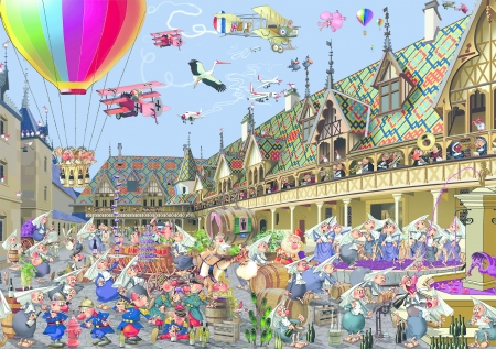 Floating around - art, francois ruyer, fantasy, hot air balloon, people, beaune, auction, pink