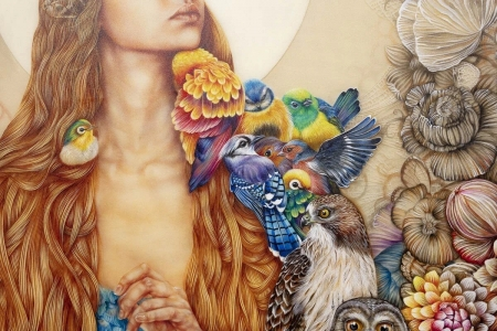 Daughter of Gaia (detail) by Kerry Darlington - fantasy, daughter of gaia, detail, flower, painting, kerry darlington, pictura, art, bird, pasari