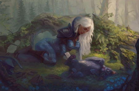 Luna and baby Nova by Tian Lei - animal, lion, forest, frumusete, luna, luminos, tian lei, cute, fantasy, green, girl, cub, nova, blue