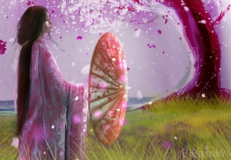 Peaceful by Essence W - art, frumusete, luminos, umbrella, kimono, superb, essence w, fantasy, tree, girl, asian, petals, parasol, pink, gorgeous
