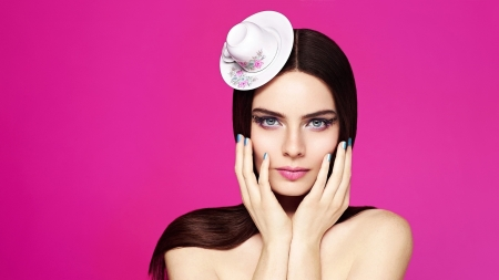 Beauty - model, girl, hand, face, woman, pink, white, hat