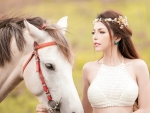 Beautiful Model and her Horse