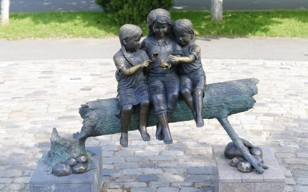 Children and Bird - children, childhood, bird, sculpture