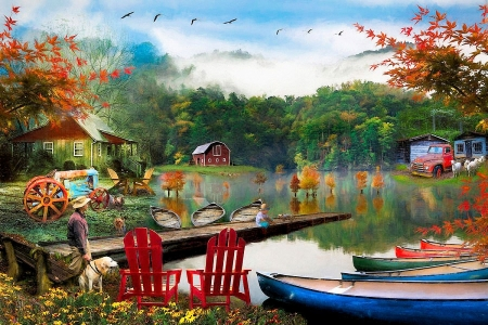 On a Peaceful Country Evening - boats, pier, river, cabin, trees, artwork, dog, barn, painting