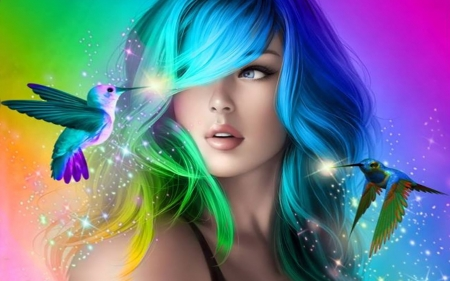 Colorful Hair - face, girl, art, digital, colors, hummingbird